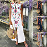 VONDA Women Loose Floral Printed Sundress Ladies Casual Vintage Long Maxi Dress