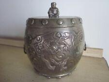 Antique Chinese Brass Jar Dragons & Buddha