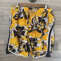 Speedo Mens Swim Trunks Board Shorts Size large Yellow floral Mesh Lined pockets