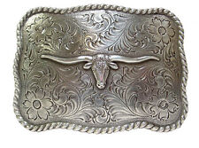 Western Cowboy Decor Raised Silver Plated  Longhorn Belt Buckle