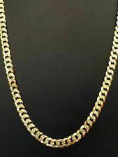 Men's Shiny Diamond Cut Miami Cuban 7mm Chain 14k Gold Over Solid 925 Silver