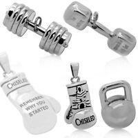 Edelstahl Anhänger Sport Bodybuilding Kettenanhänger Boxhandschuh Hantel Gewicht