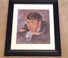1960's Beatles Oil Painting Print Framed Signed Leo Jansen John Lennon