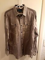 ROAR Gray Embroidered Long Sleeve Button Front Shirt Men's Size Large