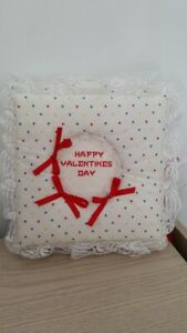 Valentine's Day PHOTO ALBUM, white with small multi-color hearts, red ribbons