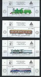 ARGENTINA Sc B123-6 PRENFIL'88 Locomotives, Phil. Exihibit  Buenos Aires