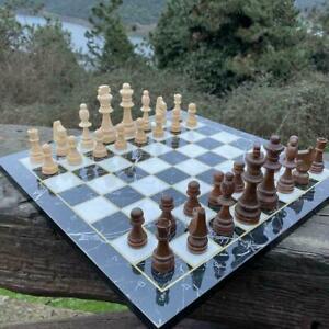 Jeu d'échecs en bois fait main et échiquier en marbre noir 37cm Gambit de...