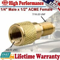 "A/C R134A Brass Fitting Tank Adapter 1/4"" Male 1/2"" ACME Female W/ Valve Core"