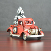Christmas Vintage Metal Classic Pickup Truck w/Snow Tree Farm House Rustic Decor