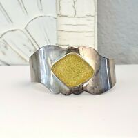 Taxco Mexico Sterling Silver 925 Stack Layer Modernist Wide Lucite Cuff Bracelet