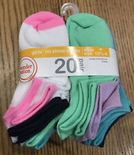Wonder Nation Girls' No Show Socks 20 Pair Size M 10.5-4