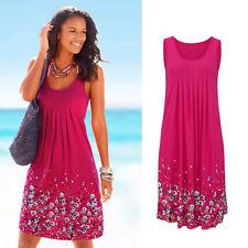 Summer Womens Flower prints Sleeveless Evening Party Beach Dress Mini Lace Dress