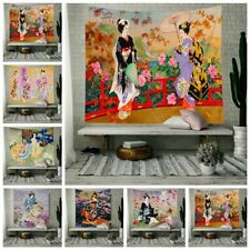 Japanese Style Tapestry Wall Hanging Geisha Scenery for Living Room Home Decor