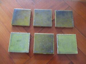 6 VINTAGE OLIVE GREEN FIREPLACE TILES 3 X 3