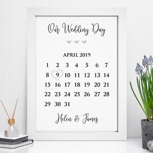 Personalised Wedding Print Memory Gift Date Mr & Mrs, Mrs & Mrs, Mr & Mr Gifts