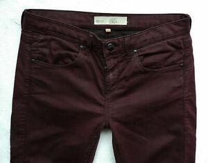 TOPSHOP Super Skinny LEIGH jeans jeggings burgundy Wash 10 S W28 L30 L29