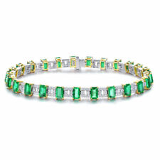 Luxury Jewelry Bangle 18k Two Tone Gold Diamonds Green Emerald Bracelets