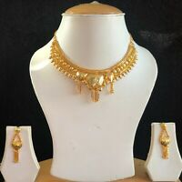 GOLD REPLICA INDIAN COSTUME JEWELLERY NECKLACE EARRINGS SET BRIDAL NEW GIFT 361