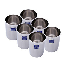 6 PC Stainless Steel Plain Round Water Serving Purpose Glass Home Cup 250 ML
