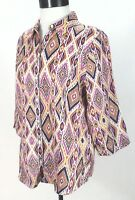 Linen Shirt CHICO'S Blouse No Iron Geometric Pink Purple Multi Women's sz 1 /M