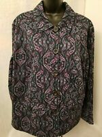 Charter Club Womens Multi Color Paisley Button Down Jacket Coat Size 1X OR 2X