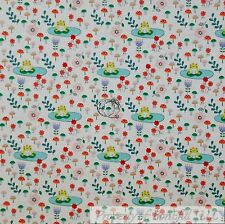 BonEful Fabric Cotton Quilt White Green Baby Frog Lilly Pad Pink Flower 99 SCRAP