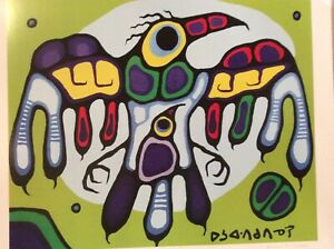 """Limited Edition Print By Norval Morrisseau. """"Thunderbird Protects Young"""" 20""""x24"""""""