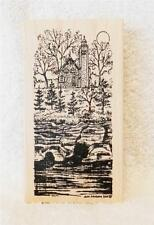 Northwoods Rubber Stamp Fall Autumn Lighthouse With Pines Over Water