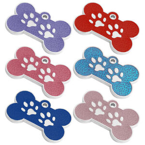BONE PAW PRINT ENGRAVED DOG ID NAME TAG DISC PERSONALISED PET IDENTITY TAGS