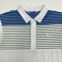 Travis Mathew Polo Shirt Mens Large Short Sleeve White Striped Pima Cotton Blend