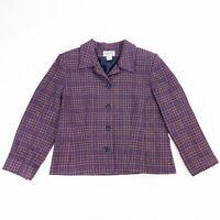 VTG Pendleton Womens 14 Purple Pink Plaid Blazer Jacket 100% Virgin Wool