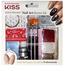 KISS* Salon Secrets NAIL ART STARTER KIT Glitter+Decals+Charm HOLIDAY #60523 1/9