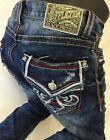 Mens AFFLICTION JEANS Straight Leg Blue Denim RED CAMO Stitch Leather BLAKE RIPS
