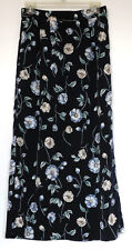 TR Bentley Navy Blue Floral Long Polyester Skirt M