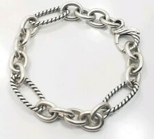Beautiful Modern Sterling Silver David Yurman Detailed Link Ladies Bracet