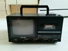 "Vintage B&W portable 5"" TV cassette Am FM radio retro working"
