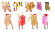 Hawaiian Themed Fancy Dress Lei Hula Skirts Tassles Costume Set Flower Garland