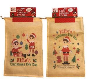 Christmas Eve Elfie's Draw string Elf Gift Bag Non Woven Sack Xmas Children