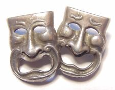Vintage Sterling Silver 925 Signed Cini Drama Face Faces Figural Pin Brooch