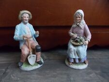 Home Interiors Man Woman Farm Couple Figurines 1433 Vintage 82B10