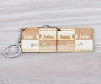 Personalised Names Engraved Matching Heart Wooden Couple Keyring Boyfriend Gifts