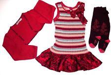 LN CLAYEUX FRANCE Girl 3pc Lot Set Dress Cardigan Sweater Tights Sz 102 4T 4  B1