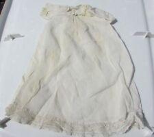 Antique Doll Dress Gown Fleur De Lis Embroidered Lace Batiste Cotton Hand Sewn