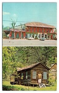 IOOF Hall, Foresthill, CA and Stanford Cabin, Michigan Bluff, CA Postcard