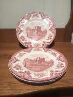 "Johnson Bros England Pink Old Britain Castles Blarney Castle 10"" Dinner Plate 4"