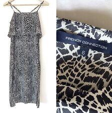 FRENCH CONNECTION Black & White Pattern Strappy Midi Dress 6 XXS