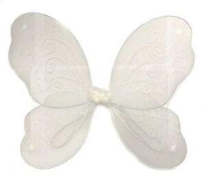 Large White Glitter Fairy Wings Angel Girls Ladies Fancy Dress Party UK