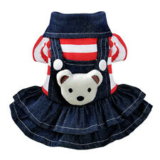 Striped Jean Dog Dress Flannel Denim Dog Shirt Clothes With Botton For S Dogs