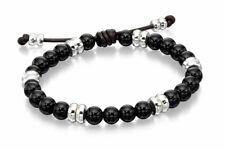 Black Onyx Beaded Bracelet B4569 Fred Bennett Gents Sterling Silver &