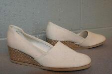 6 N Nos Cream Canvas Vtg 1970s Jute Wedge High Heel Espadrille Slip On 70s Shoe